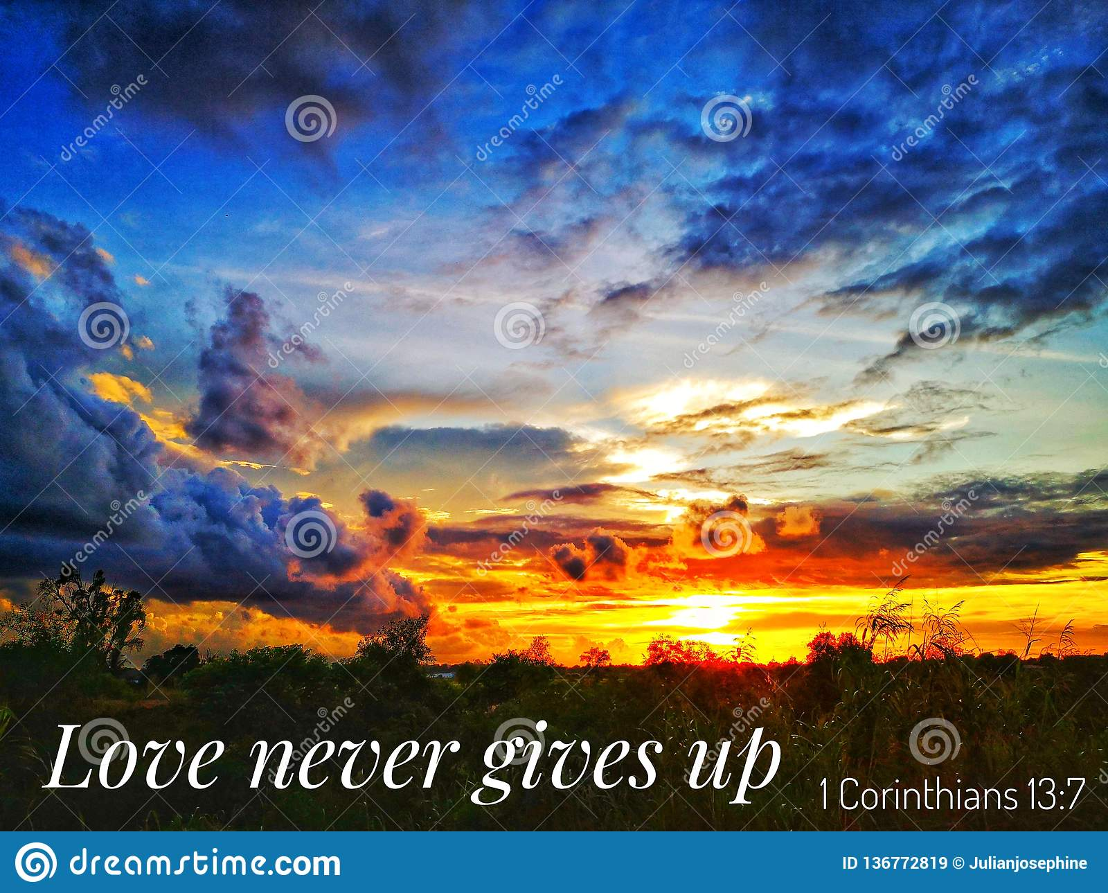read-inspirational-bible-verses-quotes-will-encourage-uplift-you-love-never-gives-up-sunset-background-136772819